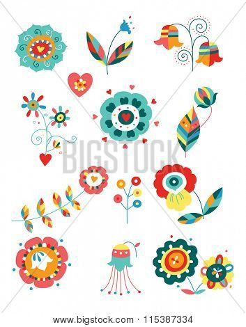 Collection of colorful decorative flowers.