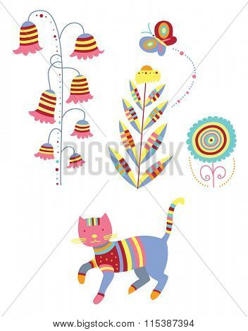 Colorful nature elements - whimsical plants, butterfly and cat.