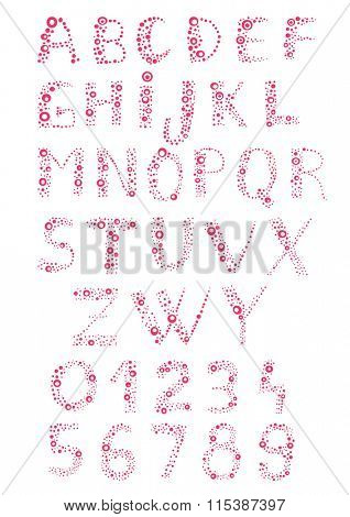 Alphabet and letters made of circles and bubbles. Easy to edit and change color.