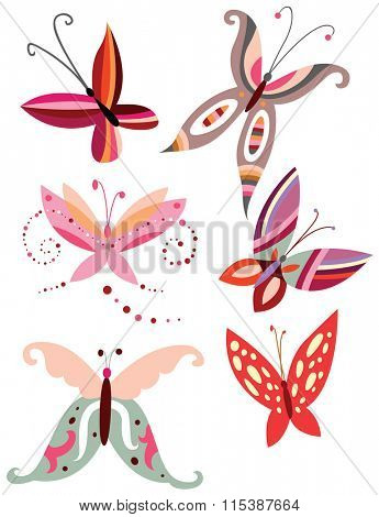 Collection of butterflies ornaments with delicate shapes and pretty colors.