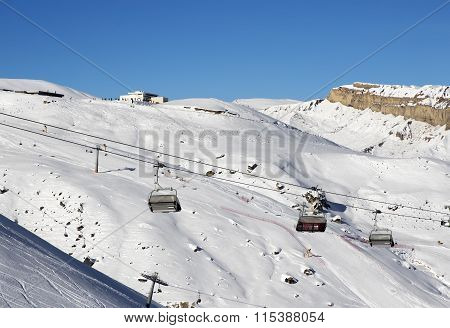 Ski Slope And Chair-lift At Sun Day