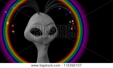 Humanoid gray with the antennas on his head,  using an antennas humanoid makes a rainbow.