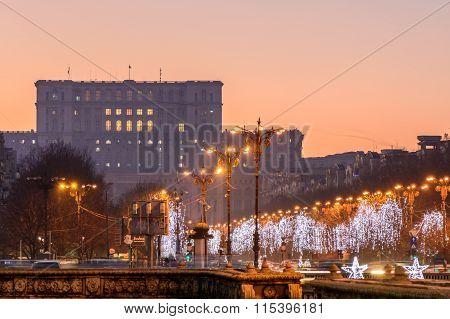 Bucharest, Romania - December 26: Palace Of Parliament On December 26, 2015 In Bucharest, Romania. I