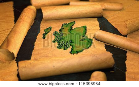 Scotland Map Painting Unfolding Old Paper Scroll 3D