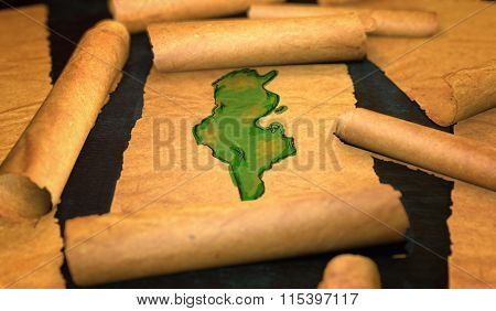 Tunisia Map Painting Unfolding Old Paper Scroll 3D