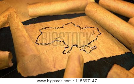 Ukraine Map Drawing Unfolding Old Paper Scroll 3D
