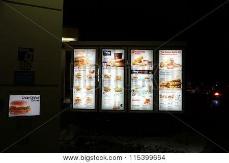 McDonald's Drive-Thru Menu at Night