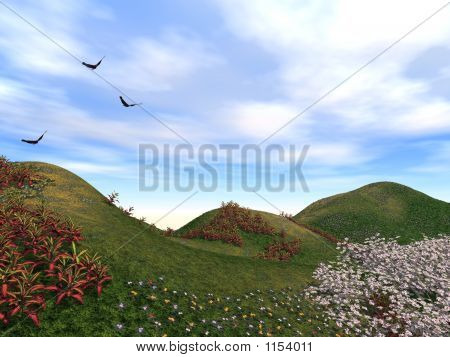 Spring Flowers Blossoming Birds