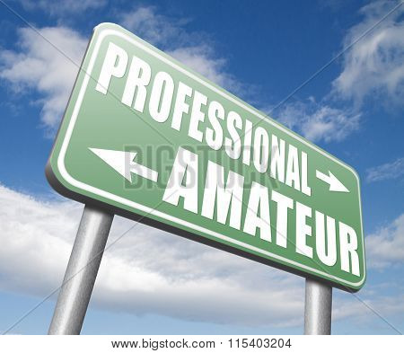 professional amateur expert novice or beginner skilled specialist or recruit and rookie road sign
