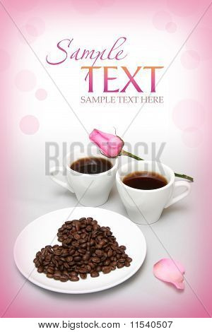 Valentine's Card With Coffee-beans And Rose