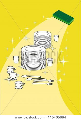 Wiping Away Dirt and Highlighting brand new kitchen plates and wares. Editable clip art.