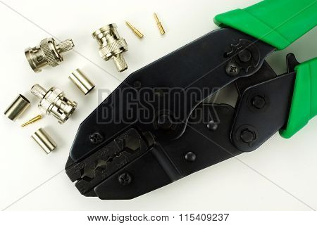 Bnc Connector For Crimping On A White Background