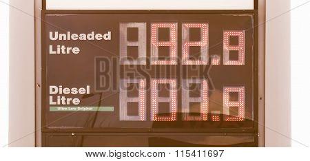 Display showing unlead and diesel gasoline price vintage poster