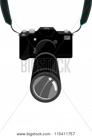An expensive SLR Film or Digital Single Lens Reflex DSLR Camera with strap and zoom lens. Editable c