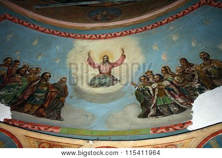 The wall-painting in the temple in honour the Protection of the Virgin