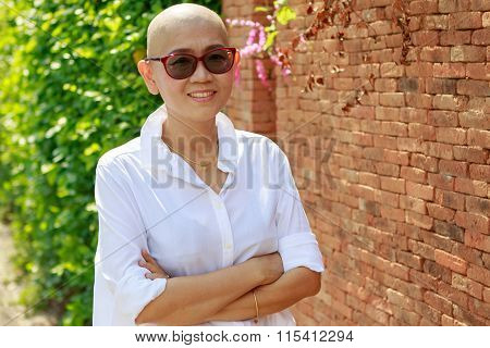 Portrait Self Confidence Asian Woman With Bald Head After Cancer Chemical Medicine Treatment Course