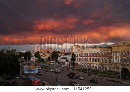 red ominous sky above the city