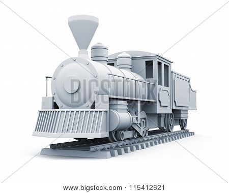 3D model of old steam locomotive isolated on white background