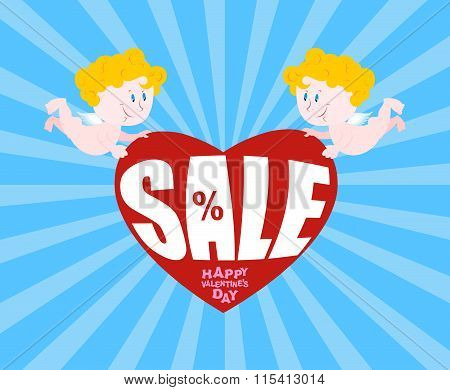 Big Sale On Valentines Day. Cupid And Big Heart. Discounts At Gala Feb. 14. Hilarious Cupid Holds Lo