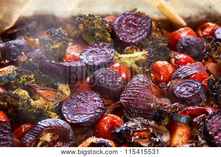Baked in oven mixed of vegetables