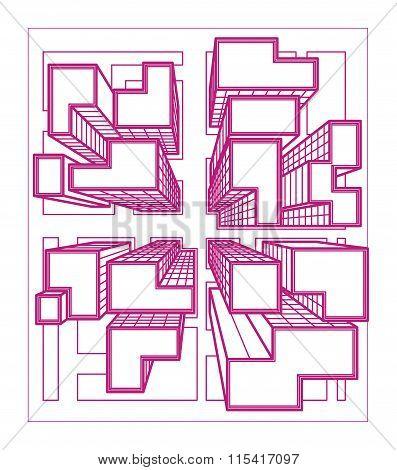 Vector city top view line art
