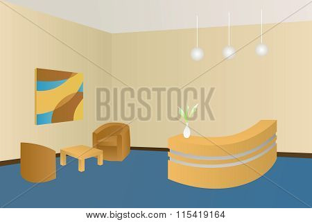 Hotel blue lobby reception interior illustration vector