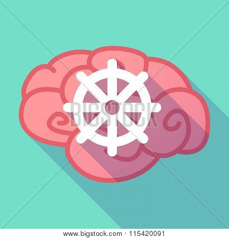 Long Shadow Brain With  A Dharma Chakra Sign