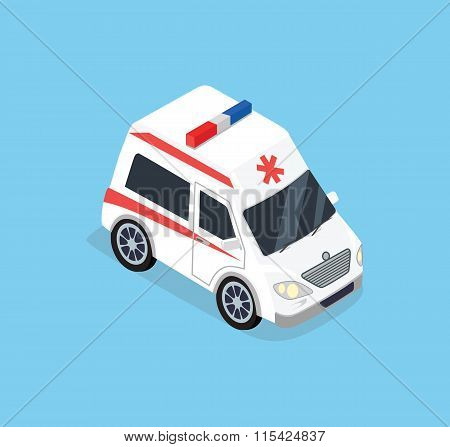 Isometric Ambulance Car