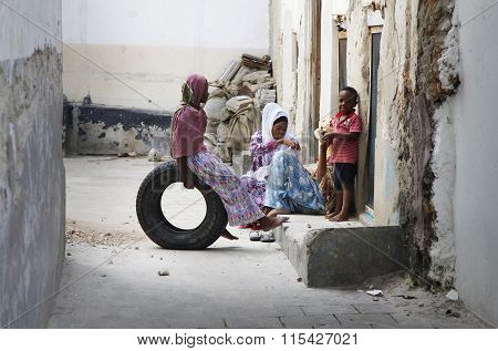 Family On The Street Stone Town