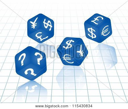 Blue Dices With Euro, Dollar, Pound, Yuan And Yen Currency Sign And Question.