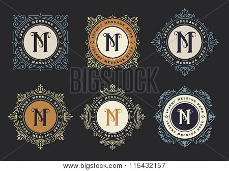 Monogram emblem insignia set. Calligraphic logo ornament vector design. Decorative frame for Restaurant Menu, Hotel, Jewellery, Fashion, Label, Sign, Banner, Badge
