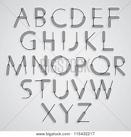 Weird Constructor Font, Vector Alphabet Letters.