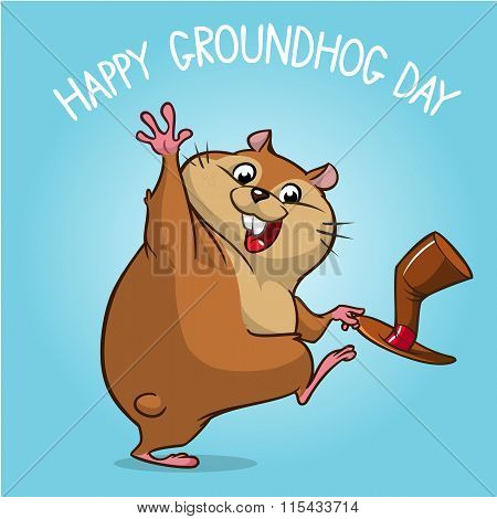 Vector happy groundhog. Groundhog day design with cute groundhog waving. Isolated vector