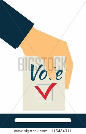 Elections. Vote. Hand Holds Ballot . Social Poll. Exit Poll.