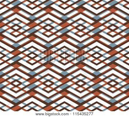 Bright Abstract Seamless Pattern With Interweave Lines. Vector Psychedelic pattern  With Stripes. E