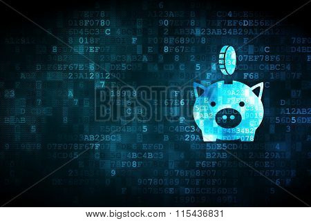 Money concept: Money Box With Coin on digital background