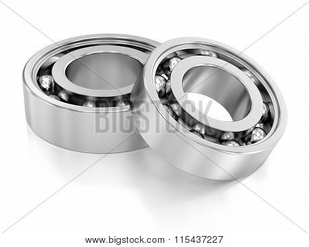 Ball Bearings Over A White Background