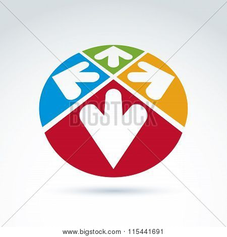 3D Abstract Emblem With Multidirectional Arrows In The Shape Of Hearts,Up, Down, Left, Right. Conc