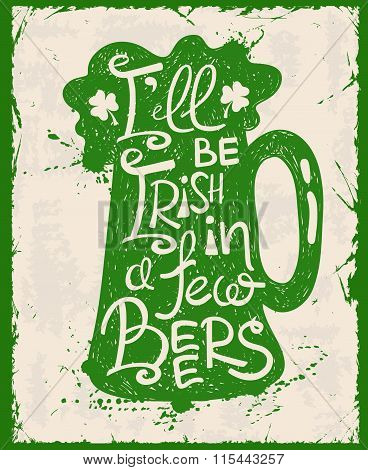 Retro St. Patrick's Day Typography Poster With Beer.