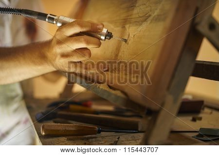 Sculptor Painter Artist Chiseling A Wooden Bas Relief-2