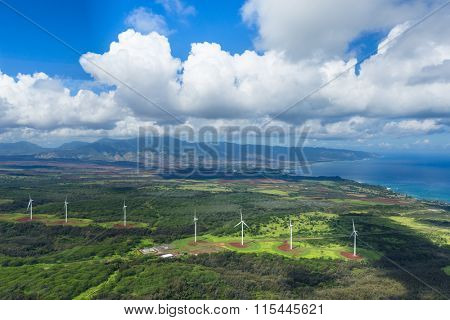 aerial view of Wind generator turbine in hawaii from helicopter.