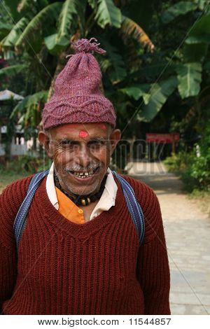 Portrait Of An Old Man From Nepal