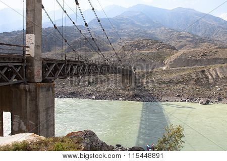 Old Bridge Over The River Katun, Altai, Russia.