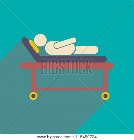 Modern flat icon with long shadow patient in hospital bed