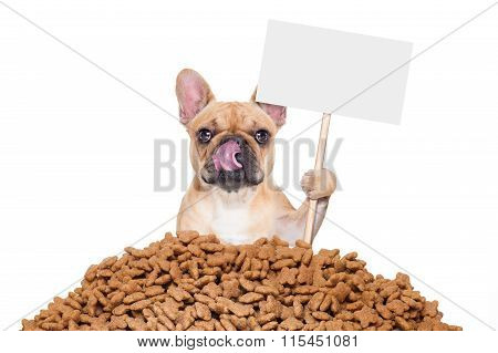 hungry bulldog dog behind a big mound or cluster of food with empty blank blackboard isolated on white background poster