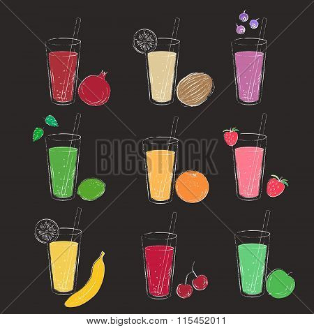 Smoothie Glass And Fruit Chalk Line Art Sketch On Black