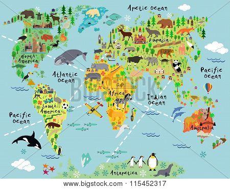 Cartoon world map