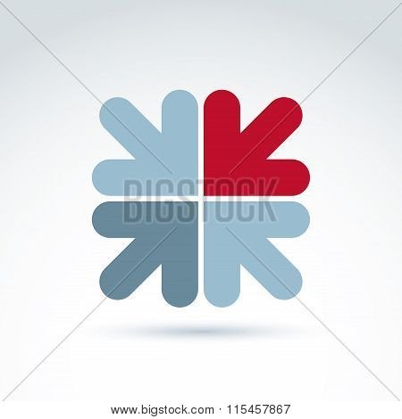 Vector Abstract Emblem With Multidirectional Arrows – Up, Down, Left, Right, Direction Sign. Concept