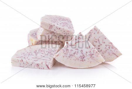 Slice Taro Root On White Background