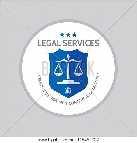 Legal service - vector logo concept illustration in classic graphic line style. Law logo icon.